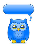 Cartoon owl with blank thought or speech bubble Royalty Free Stock Photos