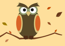 Cartoon owl on branch with autumn leaf background illustration Royalty Free Stock Photos