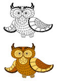 Cartoon owl with brown and yellow plumage Royalty Free Stock Photos