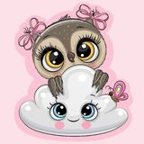 Cartoon Owl with cloud on a pink background. Cute Cartoon Owl with cloud on a pink background royalty free illustration