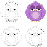 Cartoon owl. Coloring book and dot to dot game for kids Royalty Free Stock Photo