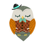 Cartoon owl flat mascot. The vector illustration for ui, web games, tablets, wallpapers, and patterns Royalty Free Stock Photos