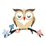Cartoon owl on a flowering tree branch Royalty Free Stock Photography