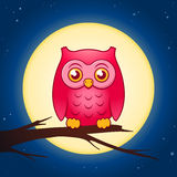 Cartoon owl with a full moon vector Royalty Free Stock Image