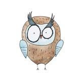 Cartoon owl hand drawn Watercolor aquarelle illustration Stock Photography