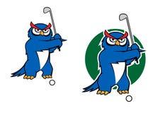 Cartoon owl mascot playing golf Royalty Free Stock Photos
