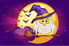 Cartoon owl and moon, set Illustration Happy Halloween Royalty Free Stock Images