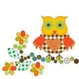 Cartoon owl in patchwork style. On white background Royalty Free Stock Images