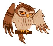 Cartoon Owl on Perch. Vector cartoon illustration of a barred owl on a perch with his wings spread stock illustration