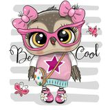 Cartoon Owl in pink glasses. Cute Cartoon Owl in pink glasses with bag royalty free illustration
