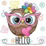 Cartoon Owl in a pink glasses with heart vector illustration