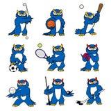 Cartoon owl play sports vector mascot icons Stock Photos