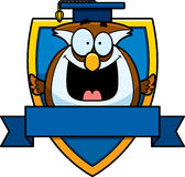 Cartoon Owl Professor Badge Royalty Free Stock Photo