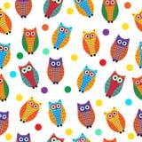Cartoon owl seamless texture, cute owl background, owl children's wallpaper. Vector illustration Stock Photo