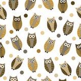 Cartoon owl seamless texture, cute owl background, owl children's wallpaper. Vector illustration Stock Image