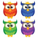 Cartoon owl set Stock Photography