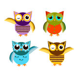 Cartoon owl set  illustration. Cute  owl characters showing different species include screech owl, long-eared owl, snowy owl, great horned owl, barn owl and Stock Photo