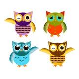 Cartoon owl set  illustration. Stock Photo