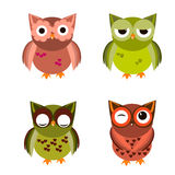 Cartoon owl set  illustration. Cute  owl characters showing different species include screech owl, long-eared owl, snowy owl, great horned owl, barn owl and Royalty Free Stock Images
