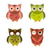Cartoon owl set  illustration. Royalty Free Stock Images