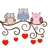 Cartoon owl sitting on the branch Royalty Free Stock Image