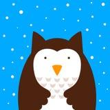 Cartoon owl, snow illustration. Cartoon cute owl, snow illustration Vector eps 10 Royalty Free Stock Photos
