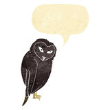 cartoon owl with speech bubble Royalty Free Stock Image
