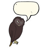cartoon owl with speech bubble Stock Photography