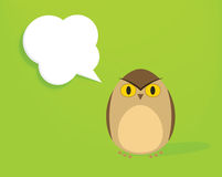 Cartoon owl with speech bubble Royalty Free Stock Photography
