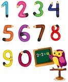 Cartoon owl teaching numbers mathematics. Illustration of isolated cartoon owl teaching numbers Stock Photos