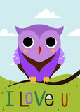 Cartoon owl on a tree branch card Stock Photo