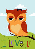Cartoon owl on a tree branch card Stock Image