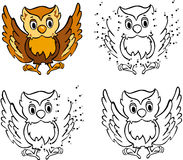 Cartoon owl. Vector illustration. Coloring and dot to dot game f Royalty Free Stock Photos
