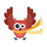Cartoon owl vector isolated. Cute vector funny cartoon owl. Animal character comic flying. Doodle cheerful with colorful emotion and humor eyes wild bird Royalty Free Stock Photography