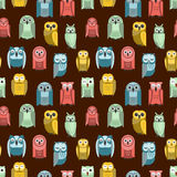 Cartoon owl vector seamless pattern Stock Photos