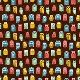 Cartoon owl vector seamless pattern Royalty Free Stock Photo