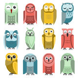 Cartoon owl vector set. Royalty Free Stock Images