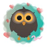 Cartoon owl with worm vector illustration eps10 royalty free illustration