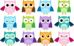 Cartoon Owls Royalty Free Stock Photos