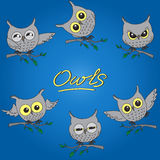 Cartoon owls in different moods Royalty Free Stock Image