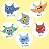Cartoon owls in different moods Royalty Free Stock Photography