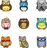 Cartoon owls icon. Vector drawing Stock Photography