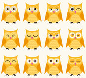 Cartoon owls illustration. With different facial expressions Royalty Free Illustration