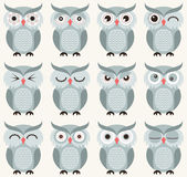 Cartoon owls illustration Stock Photography