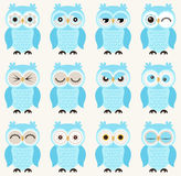 Cartoon owls illustration Royalty Free Stock Image