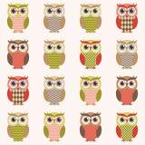 Cartoon owls illustration. With retro colors Royalty Free Illustration