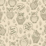 Cartoon owls seamless pattern Royalty Free Stock Photos