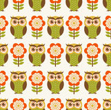 Cartoon owls seamless pattern Royalty Free Stock Photography