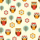 Cartoon owls seamless pattern Stock Photo