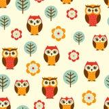 Cartoon owls seamless pattern. Cartoon owls, trees and flowers seamless pattern Royalty Free Illustration